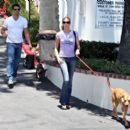Brooke Burns In Nice Tees Out To Lunch At Le Petit Four With Her Puppies -June 19 2008