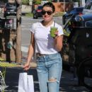 Lea Michele Leaving Beaming Organic Superfood Cafe in Brentwood