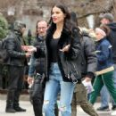 Adriana Lima on Maybelline commercial shoot in New York City