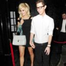 Pixie Lott leaving the Rose Club at 1.30AM hand in hand with a male friend. She then went on to Mahiki, where she partied until 3.30AM - 396 x 594