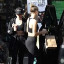 Hailey Bieber in Tights and Sports Bra – Leaves the gym in West Hollywood