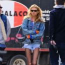 Stella Maxwell in Denim Shorts – Out in New York City - 454 x 674