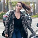 Sarah Hyland in Animal Print Coat – Out in Los Angeles - 454 x 681