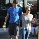 Kaley Cuoco and Ryan Sweeting take their dog to the vet before getting a coffee at Starbucks in Los Angeles, California on December 26, 2013