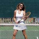 Lizzie Cundy – Enjoying a tennis game with a friend in London