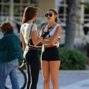 Catherine Paiz spotted getting ready to roller blade with a friend in Miami, Florida February 17,2014