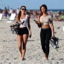 Chantel Jeffries spotted getting ready to roller blade with a friend in Miami, Florida February 17,2014