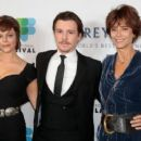 Rachel Ward (right) with her daughter Matilda Brown (left) and their co-star Xavier Samuel. Photo: Getty
