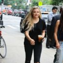 Chloe Moretzin Black outfit out in NYC