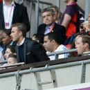Prince William and David Beckham watching the Great Britain soccer team (July 29)