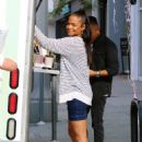 Christina Milian in Denim Mini Dress at her Beignet Box truck in Studio City
