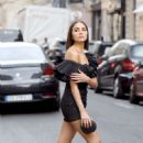 Olivia Culpo in Black Mini Dress – Out in Paris