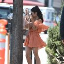 Vanessa Hudgens in Orange Mini Dress out in LA