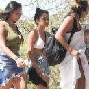 Becky G in Bikini Top and Shorts at Beach club in Ibiza - 454 x 681