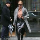 Rosie Huntington Whiteley in Leather Skirt out in New York - 454 x 613