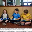 "Failing to attain a much-desired ""seat at the (lunch) table,"" Fregley (Grayson Russell, left), Greg (Zachary Gordon) and Rowley (Robert Capron) are banished to the cafeteria floor. Photo credit: Rob McEwan - 454 x 352"