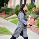 Jessica Gomes in Grey Long Coat – Out in LA - 454 x 617