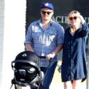 Kirsten Dunst with her newborn son Ennis in Los Angeles