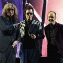 David Coverdale, Glenn Hughes of Deep Purple and Musician Lars Ulrich speak onstage at the 31st Annual Rock And Roll Hall Of Fame Induction Ceremony at Barclays Center of Brooklyn on April 8, 2016 in New York City.