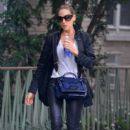 Sarah Jessica Parker is seen sporting black leather pants and white heels in New York