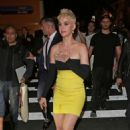 Katy Perry in Black and Yellow Mini Dress – Night out in NYC