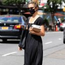 Dianna Agron – In black maxi dress out in NYC
