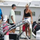 Hailey Baldwin and Justin Bieber on a boat as they enjoy their engagement trip in Bahamas