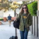Lily Collins at Burbank Airport in Los Angeles