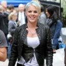 Pink on the set of her new movie, Thanks for Sharing, on Tuesday (October 18) in New York City