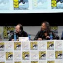 """Musicians James Hetfield, Lars Ulrich, Kirk Hammett and Robert Trujillo speak onstage at """"At The Drive-In With Metallica"""" during Comic-Con International 2013 at San Diego Convention Center on July 19, 2013 in San Diego, California"""