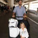 Tobey Maguire And Family Arriving At LAX