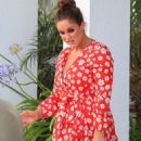 Vicky Pattison in Red Mini Dress – Leaves Ibiza - 454 x 681