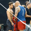 Zac Efron films an action scene for upcoming 'Baywatch' film in Miami, Florida on March 5, 2016