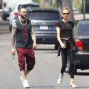 Behati Prinsloo and Adam Levine – Heads to morning Pilates workout in Studio City - 454 x 464