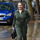 Kelly Brook – Seen at Heart radio in green jumpsuit in London