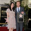 Actress Robin Tunney and actor Simon Baker attend a ceremony honoring Simon Baker with the 2,490th Star on The Hollywood Walk of Fame on February 14, 2013 in Hollywood, California