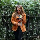 Caroline Flack with her dog out in London - 454 x 704