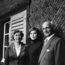 Switzerland, 1957; Anne Frank's father, Otto Frank and his second wife, with Audrey Hepburn - 393 x 395