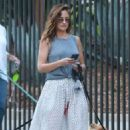 Minka Kelly in Long Skirt with her dogs in Hollywood - 454 x 681
