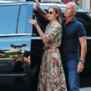 Gigi Hadid in Floral Print Dress – Arriving at her apartment in New York