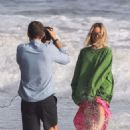 Margot Robbie – On the set of a photoshoot in Malibu
