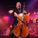 Musician Paavo Lotjonen of Apocalyptica performs onstage at the Nokia Theatre on August 24, 2010 in New York City.