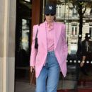 Bella Hadid in Pink Coat – Out in Paris