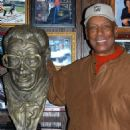 Ernie Banks With Harry Caray's Bust