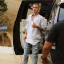 Justin Bieber is seen arriving at a friend's house party in Malibu, California on July 23, 2016