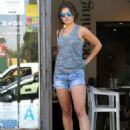 Danielle Campbell Leggy in Jeans Shorts – Beaming Organic Superfood Café in West Hollywood 7/25/2016