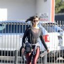 Nina Dobrev in Red Spandex – Hits the gym in LA