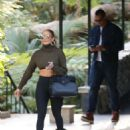 Jennifer Lopez in Tights at the Bel-Air Hotel in Beverly Hills