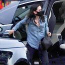 Courteney Cox – Wearing mask while arriving at Nobu in Malibu