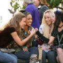 Yasmin (Nathalia Ramos), Sasha (Logan Browning), Cloe (Skyler Shaye) and Jade (Janel Parrish) make a pinky promise in BRATZ. Photo credit: Michael Desmond